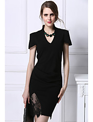 Formal Work Sexy Bodycon Dress,Solid V Neck Asymmetrical Short Sleeve Cotton Polyester Summer Mid Rise Micro-elastic Medium