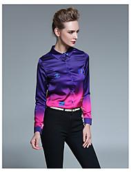 Dames Sexy T-shirt,Uitgaan Geometrisch Overhemdkraag Lange mouw Katoen