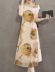 Femme Asymétrique/Noeud Courte Robe Décontracté/Quotidien Soirée Grandes Tailles Sexy simple Chinoiserie,Tartan Col Arrondi MidiManches