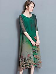 2017 spring new high-end silk dress women big yards loose 100% silk print dress was thin