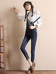Sign feet pants denim overalls female trousers significant lanky loose back with jeans