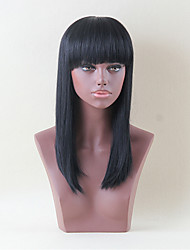 Hair Long Neat Bang Straight  Human Hair Wig