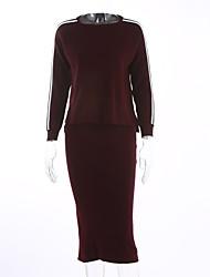 Damen Standard Pullover-Ausgehen Lässig/Alltäglich Party/Cocktail Einfach Gestreift Schwarz Lila Rundhalsausschnitt Langarm Polyester