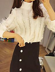 Damen Solide Einfach Lässig/Alltäglich T-shirt,Rundhalsausschnitt Frühling Sommer Langarm Weiß Nylon Mittel