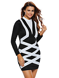 Women's Going out / Casual/Daily Simple Bodycon Dress,Color Block Turtleneck Mini Long Sleeve Blue / White / Beige Polyester / Spandex