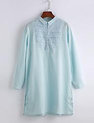 Camicia Semplice Primavera Autunno Colletto Cotone Manica lunga Medio spessore