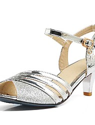 Women's Sandals Spring Summer Fall Other PU Wedding Dress Casual Stiletto Heel Buckle Black Silver Gold