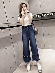 подписать весной 2017 новый корейский высокой талии колокол бахромой джинсовые брюки