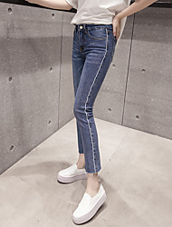 Sign 2017 new Korean Slim thin waist jeans female trousers pantyhose flash