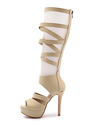 Mujer-Tacón Stiletto-Confort Gladiador Zapatos del club-Botas-Vestido Informal Fiesta y Noche-PU-Blanco Negro Beige
