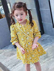 Girl's Print Dress,Cotton Summer Spring Fall Long Sleeve
