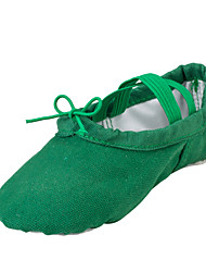 Non Customizable Girls Dance Shoes Fabric Fabric Ballet Flats Flat Heel Performance  Dark Green