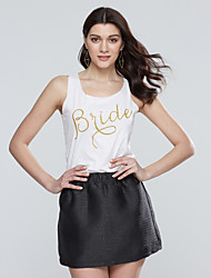 Women Vest Letter Print Round Neck Sleeveless Slim Casual Tank Top Blouse T-shirt
