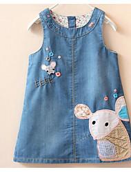 Girl's Beach Solid Dress,Cotton Summer Short Sleeve