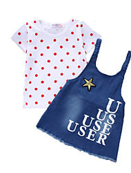 Girls' Casual/Daily Sports Polka Dot Print Sets,Cotton Summer Short Sleeve Clothing Set