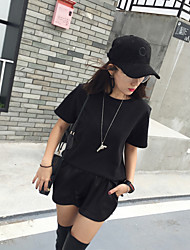 Spring and summer new simple solid color shirt College wind thick plate loose T-shirt bottoming female