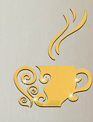 3D Wall Stickers Wall Decals Style coffee Cup Mirror Wall Stickers
