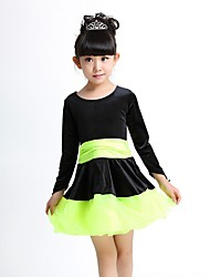 Latin Dance Dresses Children's Performance Spandex Organza Sash/Ribbon 1 Piece Long Sleeve Natural Dress
