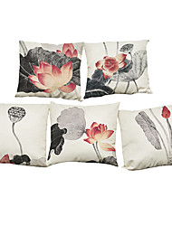 Set of 5 Chinese lotus pattern Linen Pillowcase Sofa Home Decor Cushion Cover (18*18inch)