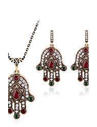 Jewelry Set Gemstone Resin Rhinestone Gold Plated Simulated Diamond Alloy Vintage Bohemian Jewelry Red Green Jewelry setParty Special
