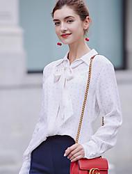 Women's Going out Vintage Cute Spring Summer Shirt,Polka Dot Shirt Collar Long Sleeve Beige Silk Translucent
