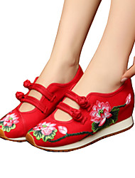 Women's Oxfords Spring Summer Fall Winter Embroidered Shoes Comfort Novelty Canvas Outdoor Athletic Casual Flat Heel Buckle FlowerBlack