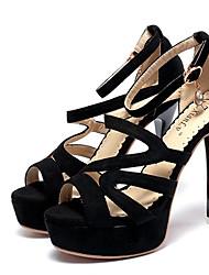 Saltos-Sapatos clube-Salto Agulha-Preto-Flanelado-Social