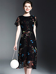 OYCP Women's Casual/Daily Simple A Line DressFloral Round Neck Midi Short Sleeve Silk Spring Summer Mid Rise Inelastic Medium