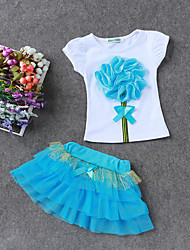 Going out Casual/Daily Holiday Print Sets,Cotton Polyester Summer Spring Short Sleeve Clothing Set