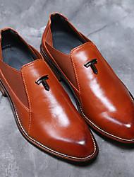Da uomo-Oxford-Matrimonio Ufficio e lavoro Serata e festa-Comoda scarpe Bullock-Quadrato Heel di blocco-Finta pelle-Nero Marrone