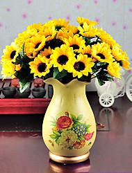 1 Ast Polyester Sonnenblumen Tisch-Blumen Künstliche Blumen 7.5