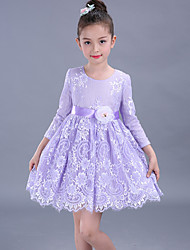 Ball Gown Short / Mini Flower Girl Dress - Cotton Lace 3/4 Length Sleeve Jewel with Flower(s) Sash / Ribbon