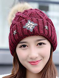женщин зимы вскользь керлинг значок алмазов звезда шерсть вязаный шерстяной печататься шляпа