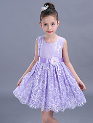Ball Gown Short / Mini Flower Girl Dress - Cotton Lace Sleeveless Jewel with Flower(s) Sash / Ribbon
