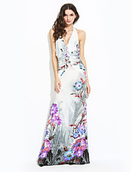 Women's Beach Sheath Dress,Floral Halter / Deep V Maxi Sleeveless Blue / Gray Summer