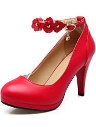 Women's Heels Spring Summer Fall Winter Club Shoes PU Office & Career Party & Evening Dress Stiletto Heel Rhinestone Buckle FlowerBlack