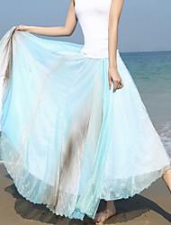 Röcke,Schaukel Regenbogen Chiffon,Strand Urlaub Boho Hohe Hüfthöhe Maxi Elastizität Kunstseide Polyester Unelastisch Sommer