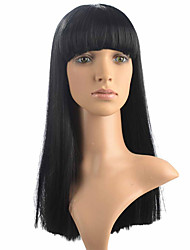 Capless Yaki Straight Wig Neat Bangs Long Black Synthetic Wig Costume Wig