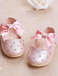 Baby Flats Comfort Leatherette Spring Fall Casual Outdoor Walking Comfort Rhinestone Magic Tape Flat Heel Beige Blue Blushing Pink Flat