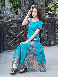 Damen einfarbig Druck Vintage Street Schick Chinoiserie Ausgehen Strand Urlaub T-Shirt-Ärmel Rock Anzüge,Boot-AusschnittRiemengurte