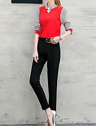 Maglietta Pantalone Completi abbigliamento Da donna Per uscire Casual Ufficio Sexy Moda città sofisticato All Seasons Con molla,A strisce