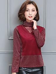 hooggesloten met lange mouwen mesh overhemd plus dik fluwelen winter grote werven Koreaanse slanke dunne wilde warme jas