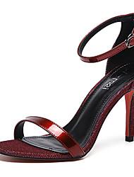 Women's Heels Summer Club Shoes PU Dress Stiletto Heel Buckle Black White Burgundy Champagne