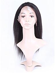 10-26 polegadas 100% cabelo virgem humano laço peruca frente natural, preto Kinky laço peruca-glueless com cabelo do bebê