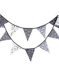 3.6m 12Flags Black Fish Banner Pennant Cotton Bunting Banner Booth Props Photobooth Birthday Wedding Party Decoration