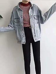 знак ~ Нетто шик корея ретро рыхлый серый промывают джинсовую куртку