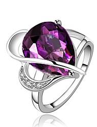 Ringe Besondere Anlässe Alltag Normal Schmuck Krystall Zirkon Kupfer vergoldet Ring 1 Stück,7 8 Lila