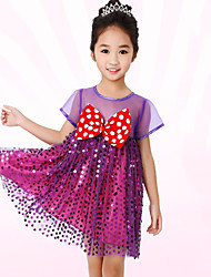 Latin Dance Dress For Girls Children's Performance Polyester Splicing 1 Piece Short Sleeve High Ballet Dance Dress Purple