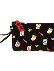 Women Cosmetic Bag PU Outdoor Black Red