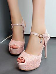 Damen-High Heels-Kleid-PU-StöckelabsatzWeiß Rosa